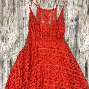 Free People Orange Crochet Lace Dress